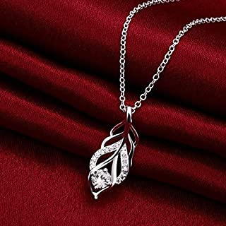Zircon Silver Plated Necklace Environmentally Friendly Allergy (Color : White) Girls Necklace (Color : White)