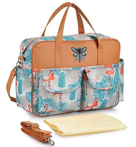 Bolsa impermeable para pañales de viaje, de nailon, con múltiples bolsillos, bolsa para el hombro, bolsa para el fin de semana, bolsa para bebé con cambiador (flamenco)