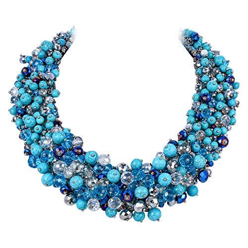 EVER FAITH Collana Donna Cristallo Perline Turquoise Gemstone Costume Statement Chunky Collana Blu Oro-Fondo