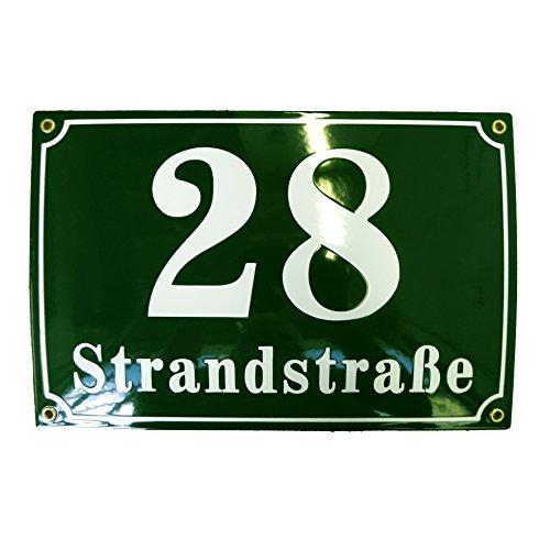 Hausnummer Hausnummernschild Emaille 20x30 cm mit Wunschstraßennamen und Nummer