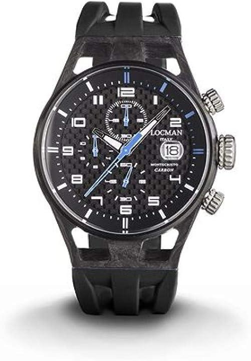 Orologio locman montecristo uomo/quadrante carbonio/cassa carbonio e titanio/cinturino silicone 0545C09S-CBCBWHSK