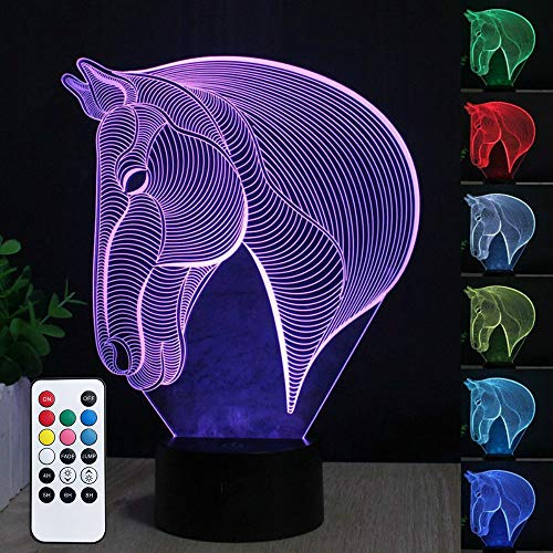 3D Caballo LED Lámparas,Lámpara de la noche del LED de la carga USB del efecto creativo del Caballo de la ilusión 3D con 7 colores que cambian para las decoraciones del hogar/de la oficina