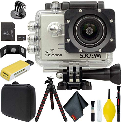 SJCAM SJ5000X Elite 4K Action Camera (Silver) Bundle with Tripod + Adapter