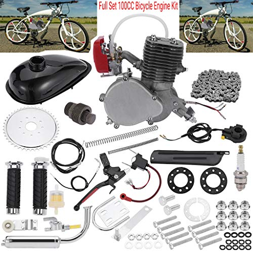 "Full Set 100CC Bicycle Engine Kit, Motorized Bike 2-Stroke, Petrol Gas Engine Kit, Super Fuel-efficient for 24"",26"" or 28"" Bicycle (Silver)"