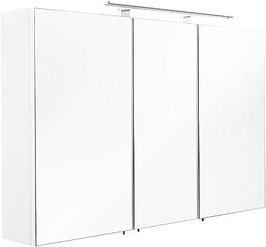 Posseik 5439–76Armoire Miroir 3Portes, 110x 68x 16cm, Blanc