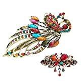 eKoi - Korean Palace Tradition Collection - Retro Vintage Color Rhinestone Hair Pieces Stick Barrette Alligator Clip Snap Ornament Pin Accessory Band for Women Girl (Peacock Duckbill + French Clip)