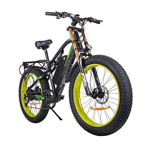 Bicicleta eléctrica para adultos 26' Ebike con motor de 1000 W, bicicleta de montaña eléctrica de 27 MPH, batería extraíble de 48 V/ 17 Ah, cambio de 9 velocidades ( Color : Black-green )