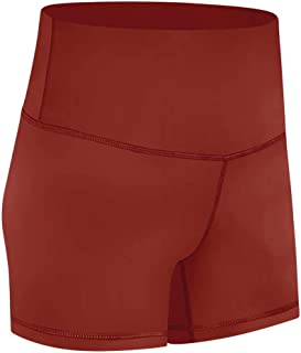 Yoga Shorts Women High Waist Hips Stitching Running Elastic Tights Shorts,Caramel Red(6)