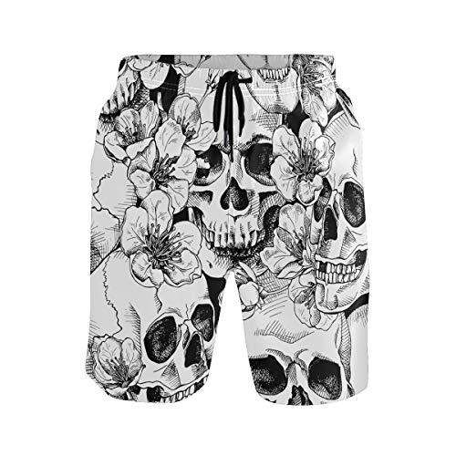 Hunihuni Herren Strand-Shorts Totenkopf Blumenmuster Kordelzug Badehose Badeanzug Bademode Mesh-Futter mit Tasche Gr. L/XL, mehrfarbig