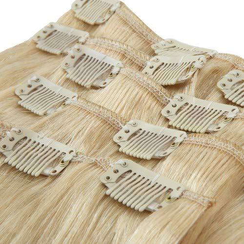 Royal Extension Extensions à Clips Naturelles Blond Méché Platine 70 g 56 cm