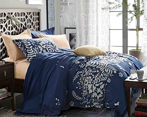 NANKO King Bedding Duvet Cover Set Navy Blue Floral, 3 Piece - 1200 TC Luxury Microfiber Down Comforter Quilt Cover with Zipper Closure, Ties - Best Style for Men and Women - Flower