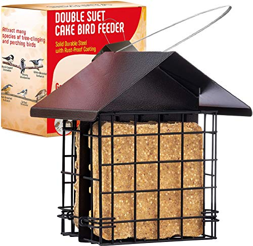 Suet Bird Feeder for Outside Double Capacity Suet Wild Bird Feeder with Hanging Metal Roof Suet Feeders for Outside for Use with Suet Cakes Seed Cakes Mealworm Cakes