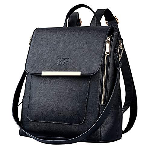 COOFIT Zaino da donna zaino in pelle nera: borse multifunzionali zaino 2 in 1 Elegante borsa a tracolla per la scuola e il lavoro