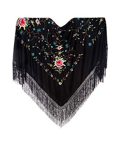 potente para casa Pañuelo bordado multicolor grande (negro / color)