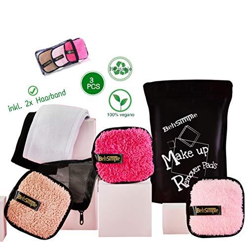 Abschminkpads waschbar, BehSimple Makeup - Remover Pads Set incl. 2x Haarband und Wäschenetz, wiederverwendbare Microfaser Abschminktücher für die Gesichtsreinigung. Kosmetikpads mit peeling Effekt