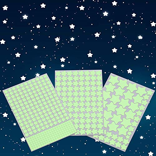 Aooyaoo Glow in The Dark Stars Wall Stickers, Glowing Stars for Ceiling and Wall Decals, 3D Glowing Stars,Excluding The Moon,Perfect for Kids Bedding Room or Party Birthday Gift(452Pcs, Green)