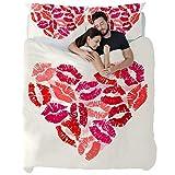 MUOOUM - Juego de Colcha de 3 Piezas, diseño de corazón con pintalabios Happy Valentin, Ultra Suave y fácil de cuidar, tamaño Individual, Microfibra, King (102 x 87) + 2 Pillow Case(20 x 35) Inch