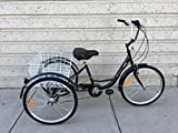 Vienna 24' 3-Wheel Shimano 7-Speed Adult Tricycle W/Basket - Black