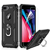 LeYi Funda iPhone 6 Plus / 7 Plus / 8 Plus Armor Carcasa con 360 Anillo iman Soporte Hard PC y Silicona TPU Bumper antigolpes Case para movil iPhone 7/8 Plus con HD Protector de Pantalla,Negro
