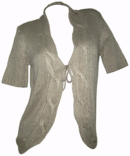 BoyseN´s Kurzarm Cardigan Strickjacke Jacke beige mit Zopfmuster (36/38)