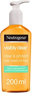 Neutrogena, Facial Wash, Visibly Clear, Clear & Protect, Oil-free, 200ml