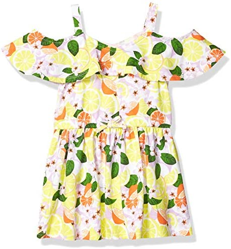 Nautica Girls Shoulder Fashion Dress Cold Flounce Floral Limelight S7 product image