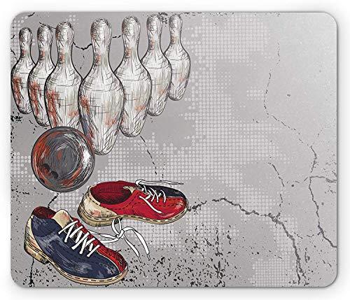 Bowling Party Mauspad, Bowling Schuhe Pins und Ball im Grunge-Stil drucken, Rechteck rutschfeste Gummi-Mousepad, Standardgröße, grau blau, grau blau, Standardgröße