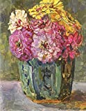Still life with zinnia's in a ginger pot, Floris Verster. Blank journal: 150 blank pages, 8,5x11 inch (21.59 x 27.94 cm) Soft cover