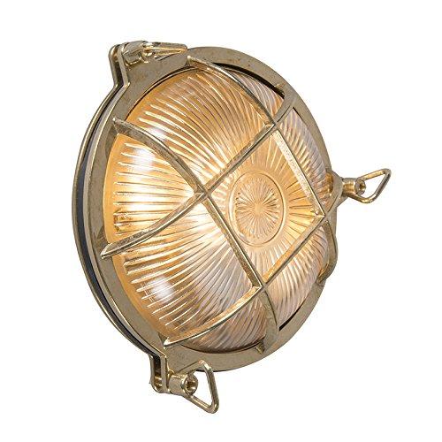 QAZQA Landhaus/Vintage/Rustikal/Retro Außen Wand- und Außen Deckenleuchte/Deckenlampe/Lampe/Leuchte Gold/Messing IP44 – Nautica rund/Außenbeleuchtung/Schlafzimmer Stahl/Glas Rund LED