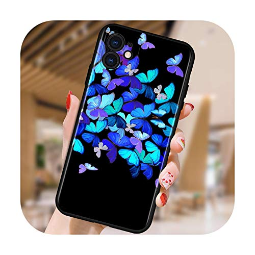 Moda colorida mariposa para iPhone 12 Mini 11 XS Pro Max X XR 8 7 6 6S Plus SE 5 5S 2020 Negro Funda de teléfono estilo 05-para iPhone 12 ProMax