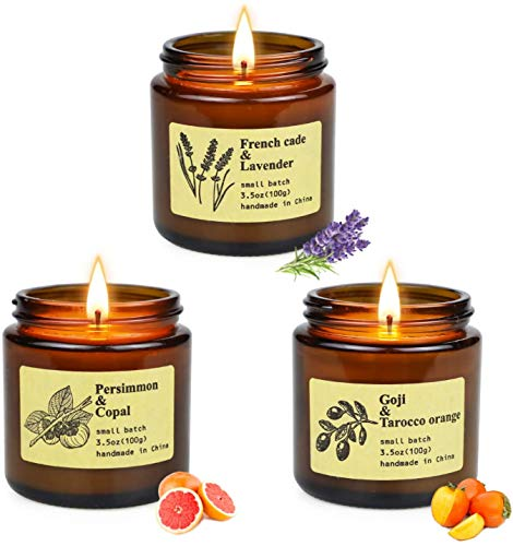 Scented Candles Gift Set, 3 Jar Aromatherapy Candles with Different Fragrances 3.5 Oz Each Candle with Soy Wax Long Lasting Time Soy Candles Gifts for Women Mum Birthday Mother's Day Anniversary