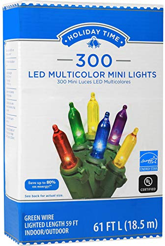 Holiday Time 300 LED String Lights Colorful Mini Lights 61 FT Long Plug in for Indoor Outdoor Christmas Tree Garden Wedding Party Decoration.