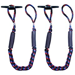 【ONE YEAR WARRANTY】These are 4 feet length, 4 feet length can stretch to 5 1/2 feet,. Buy with confidence, our product provide ONE YEAR WARRANTY from date of purchase. 【QUICK AND EASY TO DOCK】This is perfect for a quick tie up to a cleat, piling or d...