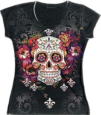 Sweet Gisele Sugar Skull V-Neck T Shirt Day of The Dead Rhinestones Bling for Women Black,X-Large,Black