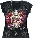 Sweet Gisele Sugar Skull Shirts for Women   V Neck T Shirt Tee   Beautiful Print Decorated with Rhinestones Black