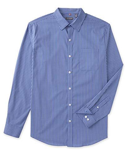 Van Heusen Herren Hemd mit Knopfleiste und Langen Ärmeln, für Reisen, Stretch, bügelfrei - Blau - Large Hoch