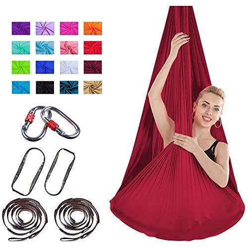 XiuLi Aerial Yogatuch Yoga & Fitness Set | Vertikaltuch in vielen Farben & Varianten | Keine Nähte Aerial Yoga Tuch (Color : Crimson, Size : 4 * 2.8M)