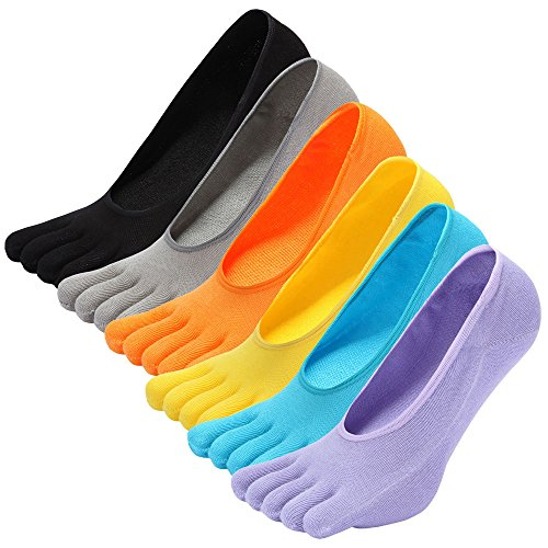 LOFIR Calcetines Cortos de Algodón para Mujer Calcetines Invisibles con Dedos Separados, Calcetines Bajos Tobilleros de 5 Dedos de Deporte para Mujer, Talla 35-41, 6 pares