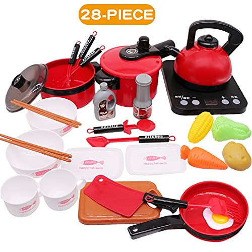YUXIwang Cookware Children Kitchen Toys Miniature Set Pretend Play Simulation Food Cookware Pot Pan Cooking Play House Utensils Toy Kids Gift (Color : 28pcs red)