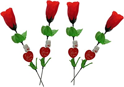 Collectible India Artificial Rose (Red and Green) - 4 Pieces