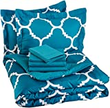AmazonBasics 7-Piece Light-Weight Microfiber Bed-In-A-Bag Comforter Bedding Set - Full or Queen, Teal Trellis