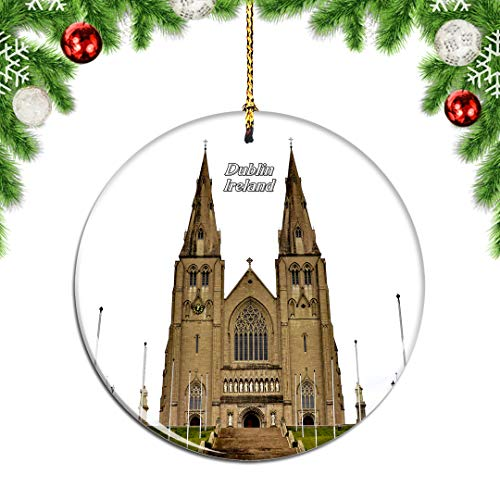 Weekino Ireland St. Patrick's Cathedral Dublin Christmas Xmas Tree Ornament Decoration Hanging Pendant Decor City Travel Souvenir Collection Double Sided Porcelain 2.85 Inch
