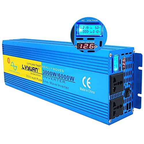 QTWW Inversor de Corriente para Coche Inversor de Corriente Onda sinusoidal Pura 3000 / 6000W LCD Inversor de Pantalla Dual 12V24V a 110V220V Convertidor de Corriente Control Remoto inalámbrico y