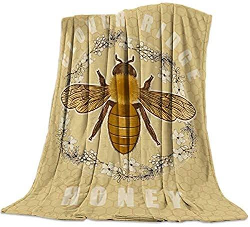 Manta de pelo largo súper suave, diseño de abeja y guirnalda, diseño retro de trébol con abejas y guirnaldas, ligera y decorativa para viajes, 101,6 x 127 cm