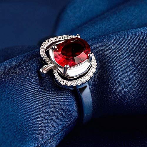 KHOBGLU Vrouwen Ring Sterling Zilveren Ring 8 * 5 Mm Natuurlijke Robijn Verlovingsring Huwelijksfeest Cadeau