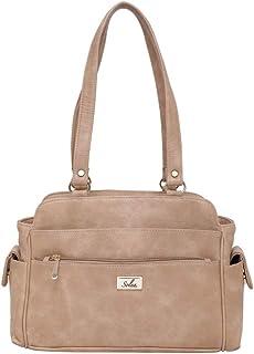 Women Cream Zip Handbags