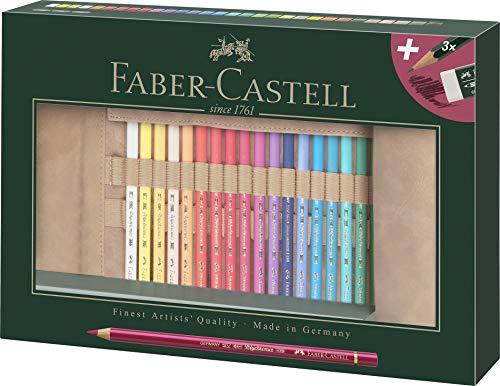 Faber-Castell 110030 Polychromo - Juego de 30 lápices de colores con estuche de piel y accesorios, resistente al agua, irrompible, para profesionales y artistas aficionados, multicolor