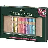 Faber-Castell 110030 polykromos färgade pennor uppsättning med 30 med läderpennrulle och tillbehör vattentäta okrossbara för professionella och hobbyartister