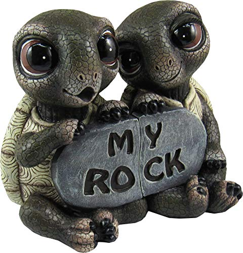 DWK - Rock Solid Love - Adorable Romantic Turtle Couple Two-Piece Figurine Best Friends Lovers Collectible Office Desk Statue Home Decor Patio Garden Accent, 5.5-inch