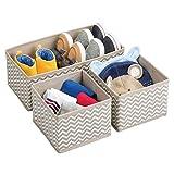 mDesign Aufbewahrungsboxen aus Stoff im 3er Set – Stoffbox in zwei Größen für Wäsche, Windeln, Tücher, Accessoires etc. – flexible Aufbewahrungskiste für den Schrank oder Schublade – taupe - 9